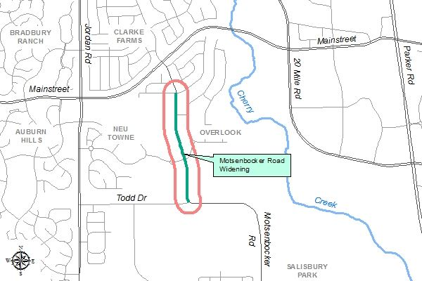 Motsenbocker Road Widening Project Map