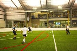 Soccer practice at Parker Fieldhouse