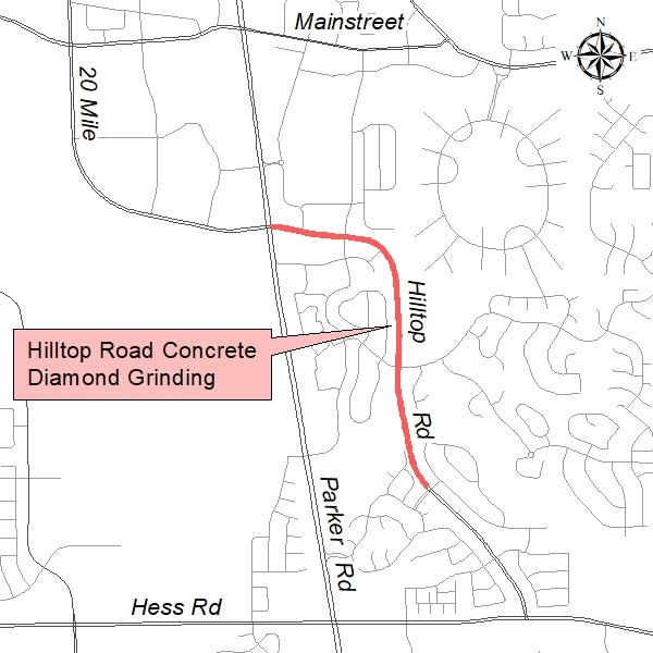 Hilltop Road Diamond Grind Project Map